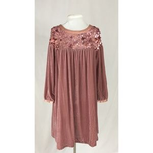 Interlud Anthropologie Silk Velvet Sequined dress
